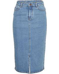 Moss Copenhagen Calissa Rikka Hw Denim Skirt - Blauw