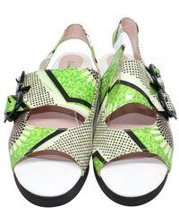Carven Leather Sandals Verde