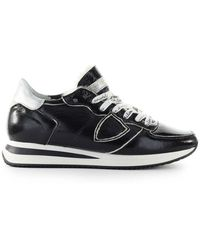 Philippe Model Trpx Black Patent Sneaker - Zwart