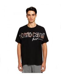 Roberto Cavalli Sport Tshirt Logo Estampado Negro