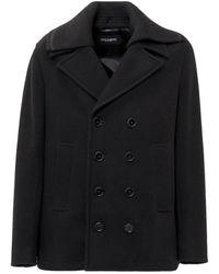 Dolce & Gabbana Double-Breasted Coat Negro