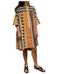 Devotion Vestido Camisero Bordado Étnico - Oranje