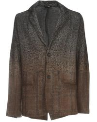 Avant Toi Herringbone Jacket With Carded And Needled Check - Bruin
