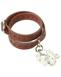 Acne Studios Charm Leather Bracelet - Bruin