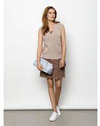 Rosemunde Brun Silk Top Regular W/Vintage Lace Overdeler Marrón