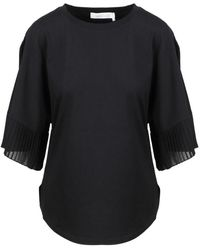 See By Chloé Pleated Butterfly Sleeves TOP - Noir