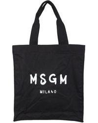 MSGM Tote Bag With Brushed Logo - Zwart