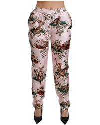 Dolce & Gabbana Bengal Cat Trousers Silk Pants - Roze