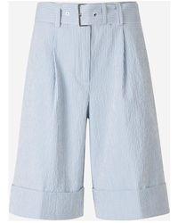 Peserico Belted Seersucker Bermuda Shorts - Blauw