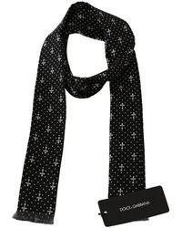 Dolce & Gabbana Silk Cross Polka Dot Skinny Necktie Scarf - Zwart