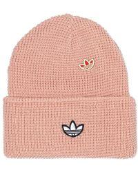 adidas Originals Rib-knit Hat With Logo - Roze