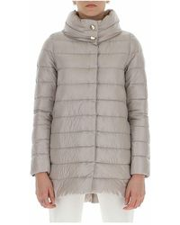 Herno Blend And Feather Down Zipped Padded Coat - Grijs