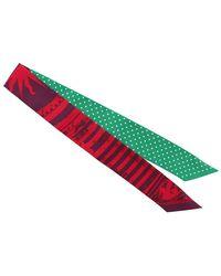 Hermès Sciarpa in seta twilly stampata - Verde