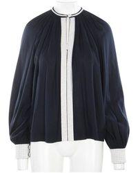 Hermès Túnica Con Crochet -Prepropiada Condición Muy Buena Azul