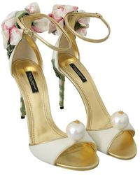 Dolce & Gabbana Pearl Velvet Sandals - Meerkleurig