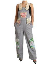Dolce & Gabbana Overalls Jeans Crystal Hortensia - Grijs