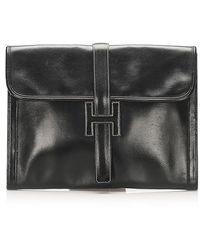 Hermès Jige GM Leather Clutch Bag Leather Calf - Nero
