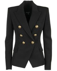 Balmain Double Breasted Blazer Jacket - Zwart
