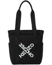 KENZO Logo Print Padded Tote Bag - Nero