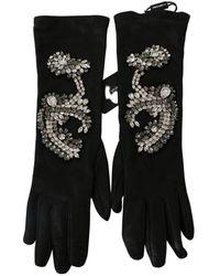 Dolce & Gabbana Leather Lamb Skin Crystal Gloves - Noir