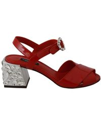 Dolce & Gabbana Leather Crystal Sandals - Rood