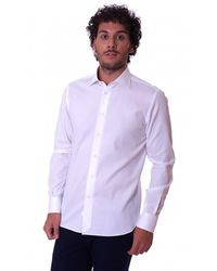 BRANCACCIO Slim Fit Shirt H Italian Collar - Wit