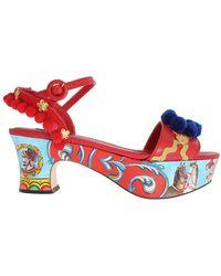 Dolce & Gabbana Platform Heel Sandalen - Rood