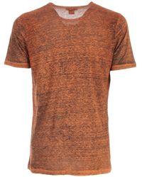 Avant Toi Round Neck Linen T-Shirt With Shadows Naranja
