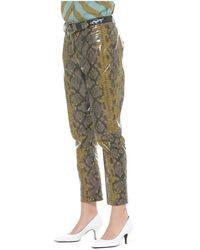 Silvian Heach Pantalone lucido python pattern Verde