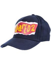 DSquared² Adjustable Men's Cotton Hat Baseball Cap - Blauw