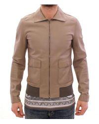 Dolce & Gabbana Leather Jacket Biker - Neutro
