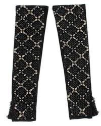 Dolce & Gabbana Leather Finger Free Gloves - Zwart