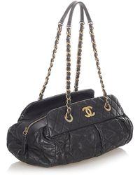 Chanel Vintage Bolso de hombro CC Matelasse de piel de cordero Negro