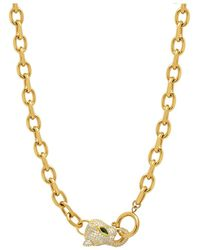 Nialaya Gold Link Necklace With Cz Panther Head - Geel