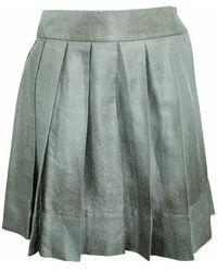 Céline Vintage Jupe en lin et soie mélangés d'occasion - Jaune