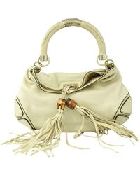 Gucci Ivory Indy Bamboo Tassel Hobo Bag - Naturel