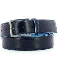 Piquadro 35 Mm Belt In Bue Square Leather - Blauw