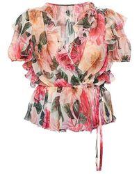 Dolce & Gabbana Floral-motief Zijden Top - Naturel