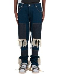 Youths in Balaclava Jeans High Waisted Fringed - Bleu