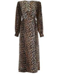 Ganni Jurk Robe Leopard - Meerkleurig