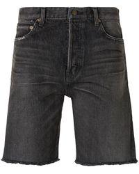 Saint Laurent Frayed Hem Denim Shorts - Zwart