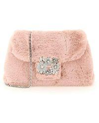 Roger Vivier Rv Bouquet Faux Fur Bag - Roze