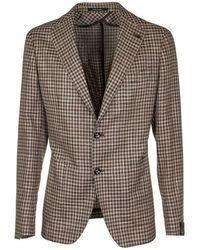 Tagliatore Checked single breasted blazer - Marrone