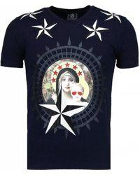 Local Fanatic Holy Mary - Rhinestone T-shirt - Blauw