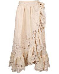 Zimmermann Brighton Scallop Wrap Skirt - Neutre