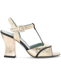 Paola D'arcano Amalia Platinum Craqueled Leather Heeled Sandal - Grijs