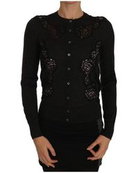 Dolce & Gabbana Lace Button Up Cardigan Sweater - Grijs