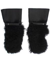 Dolce & Gabbana Leather Sheepskin Shearling Fur Gloves - Zwart