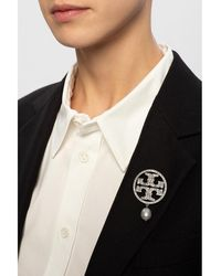 Tory Burch Brooch with logo Gris