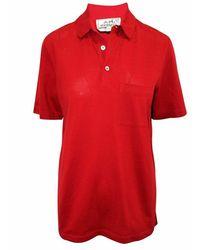 Hermès Polo con botones bordados de segunda mano - Rojo